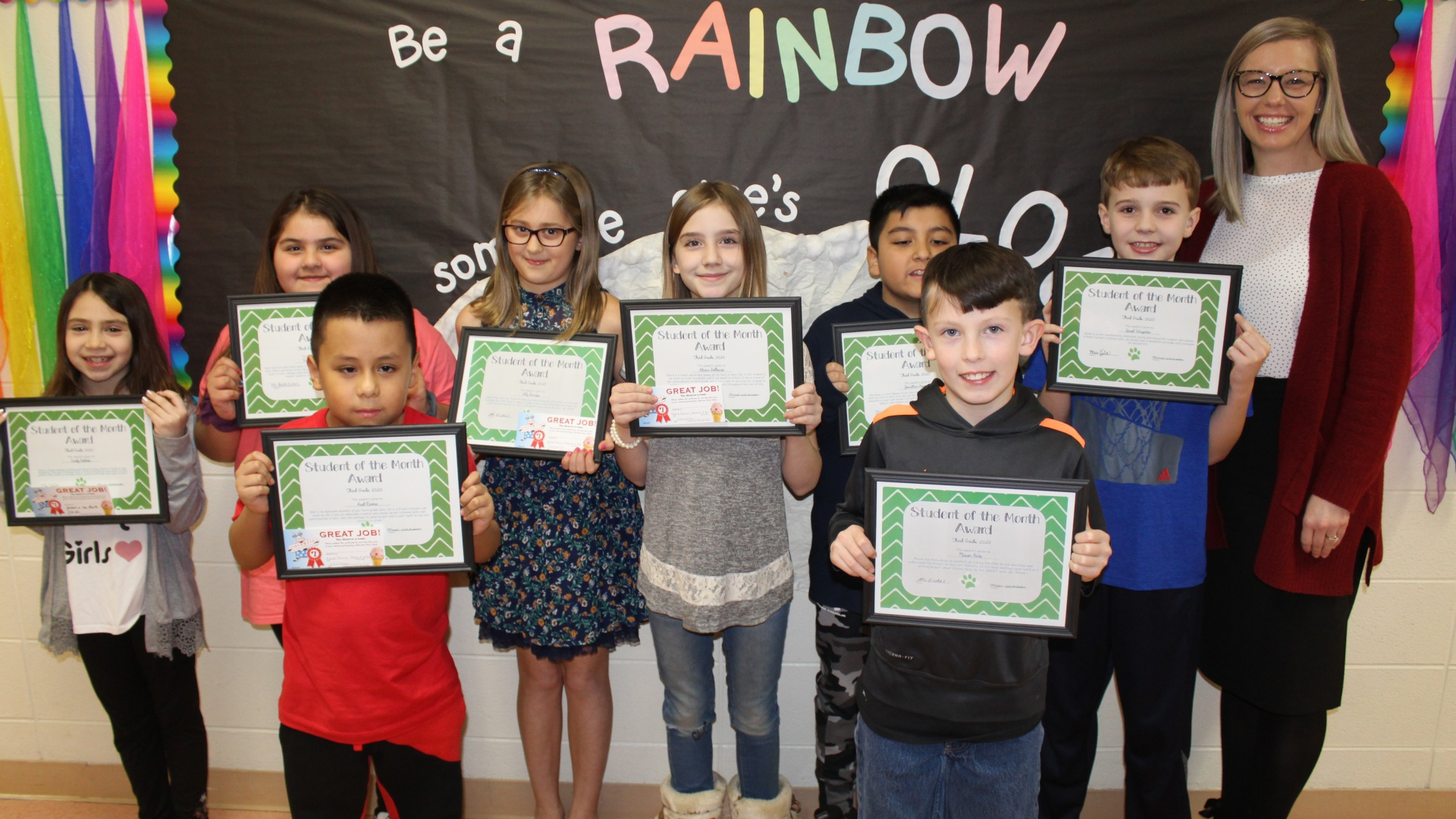 Third Grade Students of the Month Award Winners